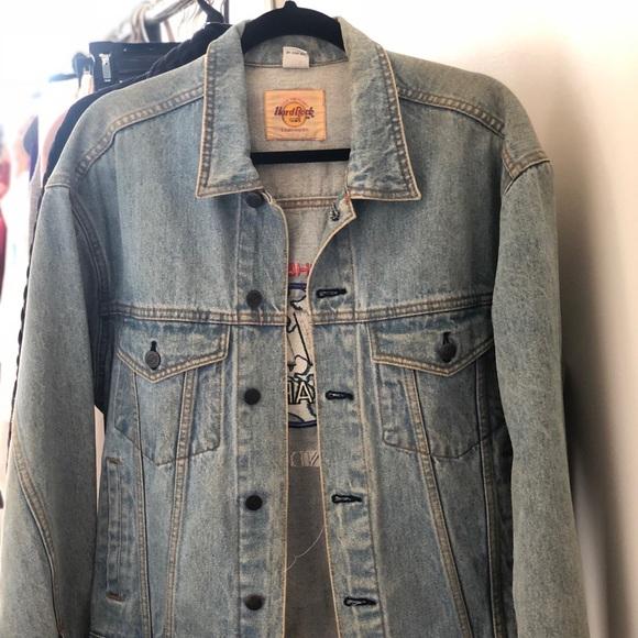 Rare! Vintage Hare Gray Denim Jacket Buttons Up Pockets Size Medium